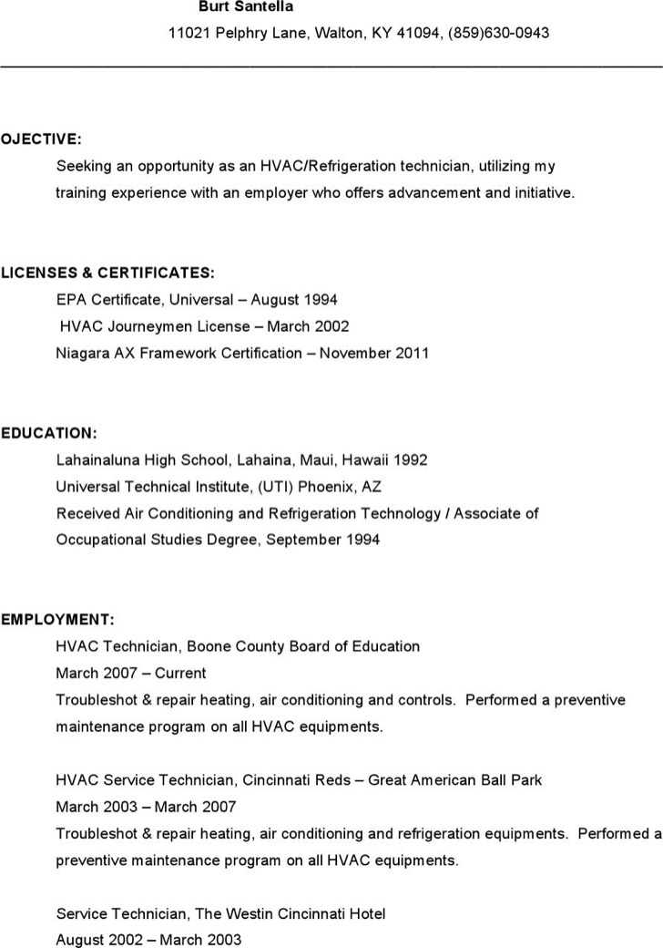 cv format for hvac technician writing an hr resume templates free - Hvac Resume Template