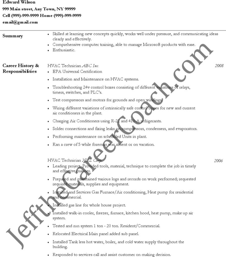 hvac resume template free premium templates