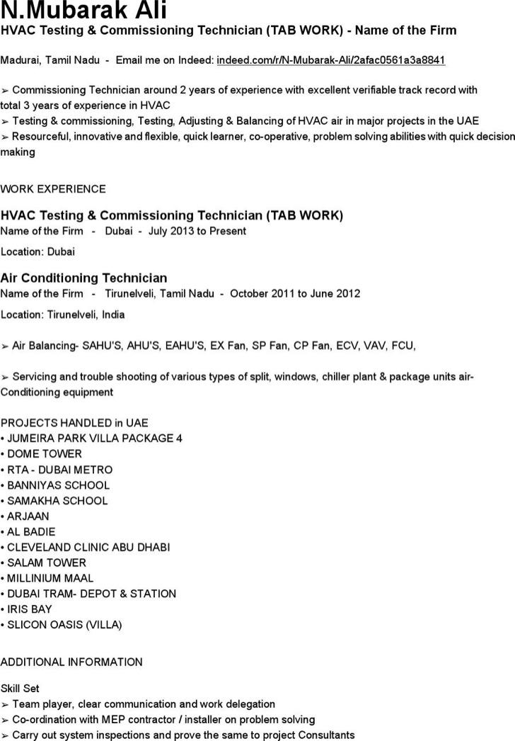 Hvac Testing Commissioning Technician Resume Free Pdf