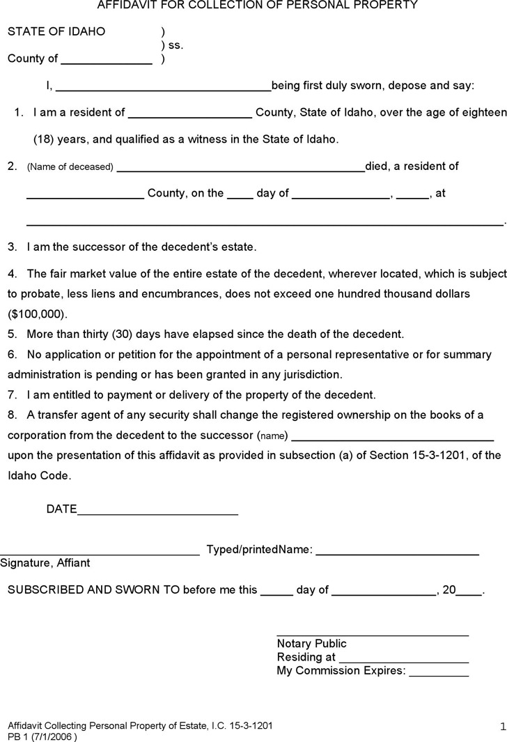 Idaho Affidavit for Collection of Personal Property Form