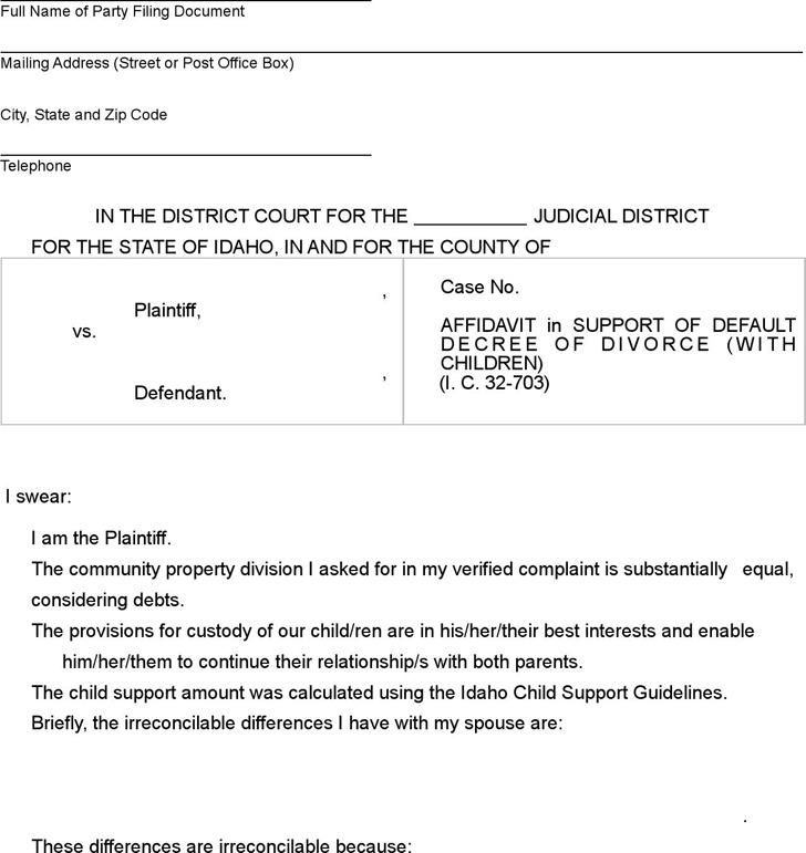 Idaho Affidavit in Support of Default Decree of Divorce (with Children) Form