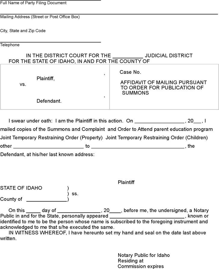 Idaho Affidavit of Mailing per Order for Publication Form