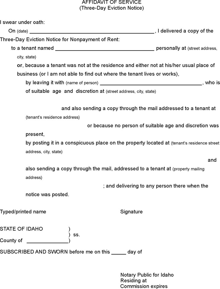 Idaho Affidavit of Service of 3 Day Notice to Pay Rent or Vacate Form