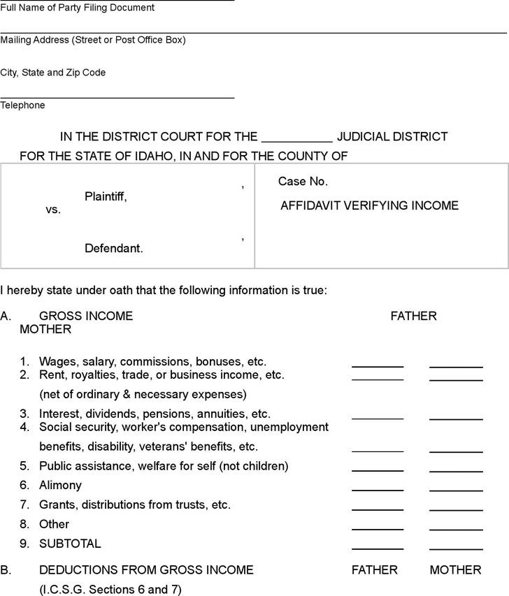 Idaho Affidavit Verifying Income Form
