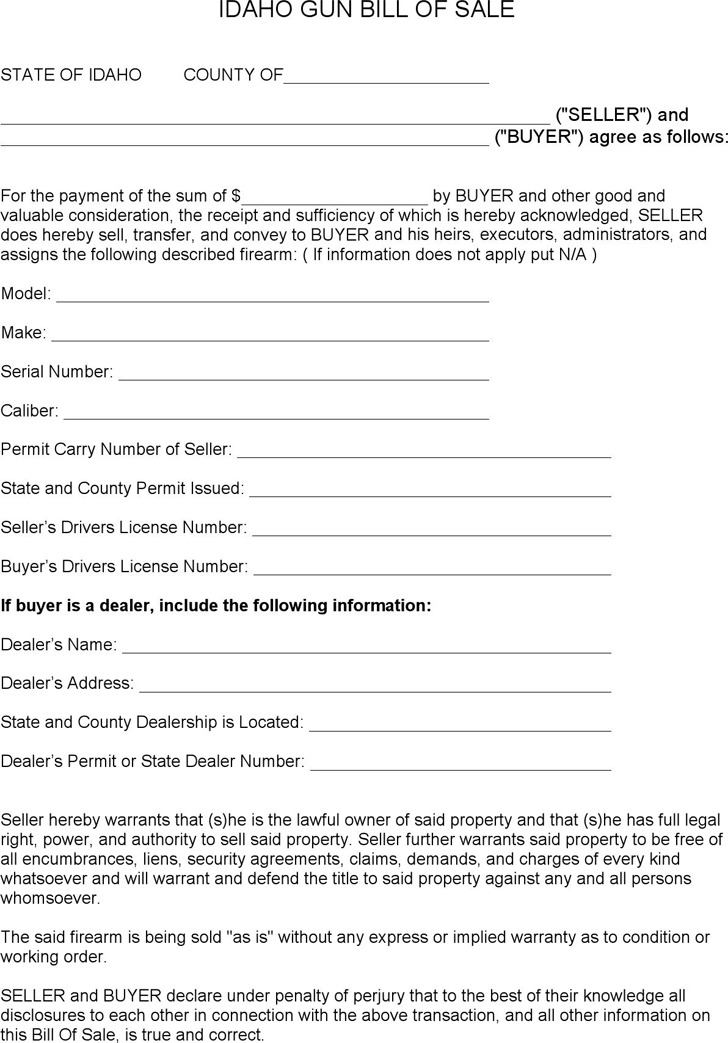 Idaho Bill Of Sale Form | Download Free & Premium Templates, Forms
