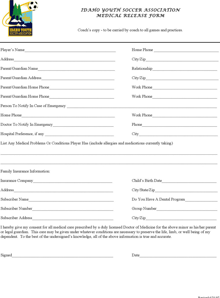 Idaho Medical Release Form