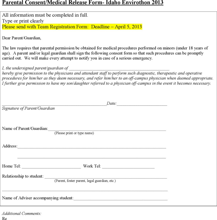 Idaho Parental Consent/Medical Release Form