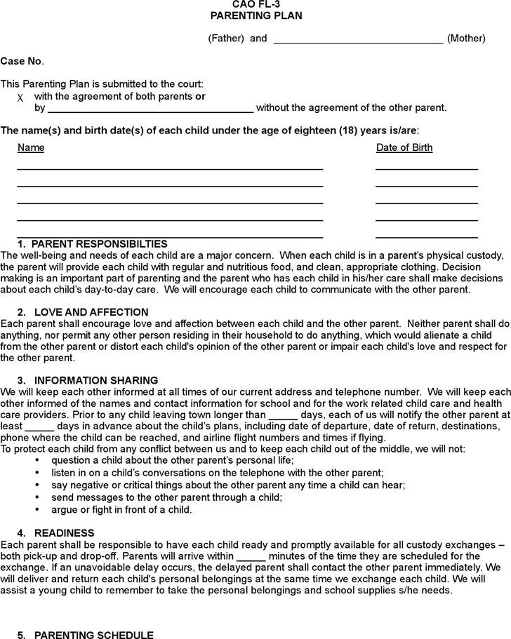 Idaho Parenting Plan Form