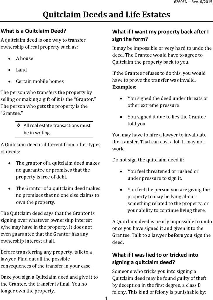 Idaho Quitclaim Deed Form 1