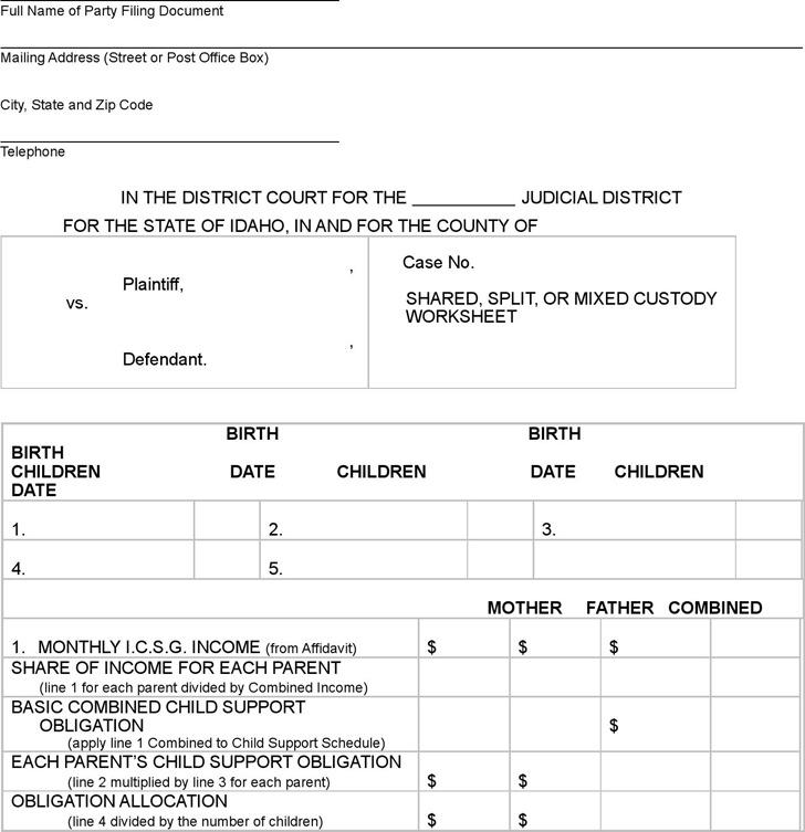 Idaho Shared or Split Custody CS Worksheet
