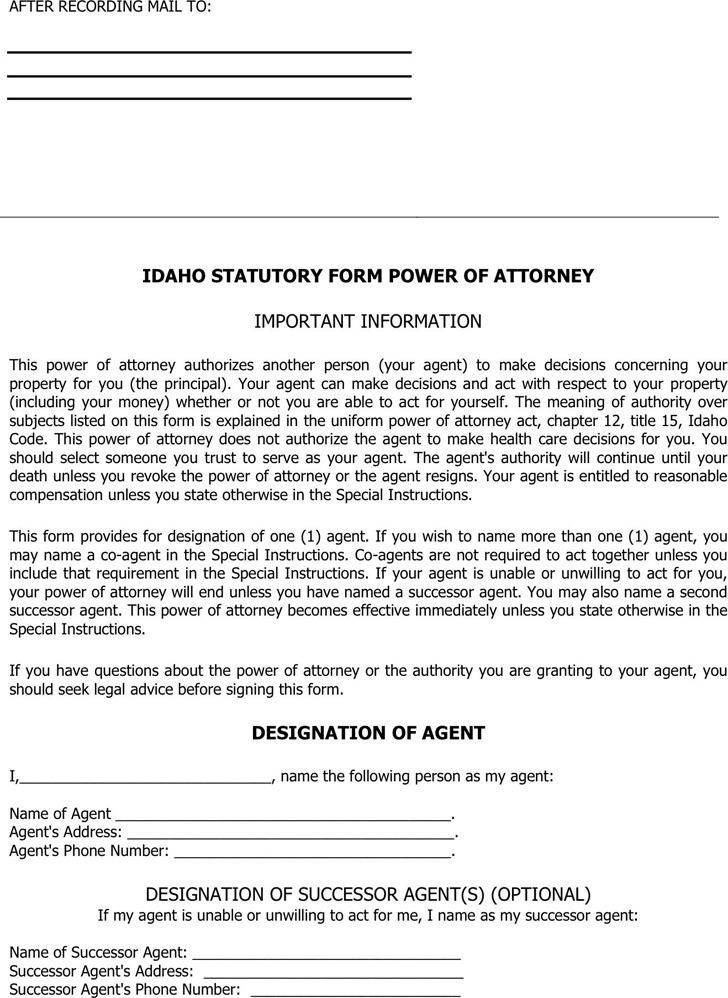 Idaho Statutory Power of Attorney Form