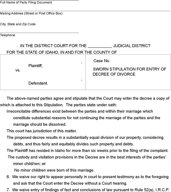 Idaho Sworn Stipulation for Entry of Divorce Decree Form