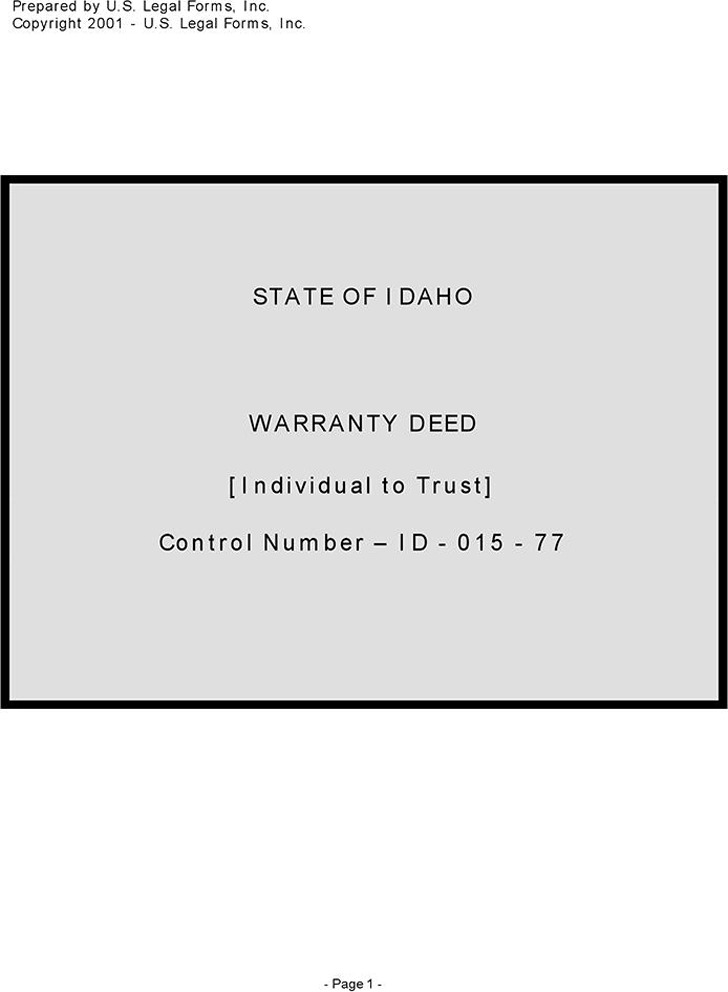 Idaho Warranty Deed Form