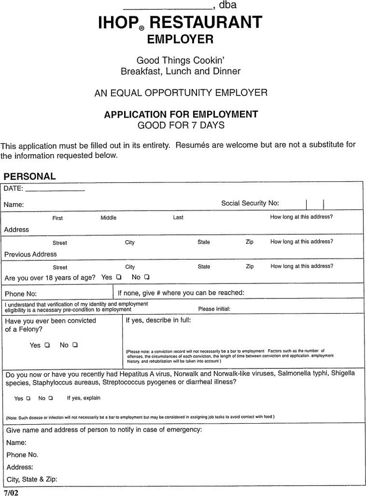 IHOP Restaurant Employer Application for Employment