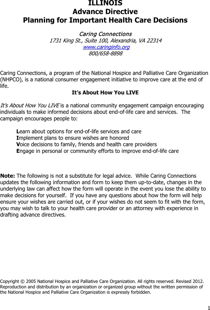 Illinois Advance Health Care Directive Form