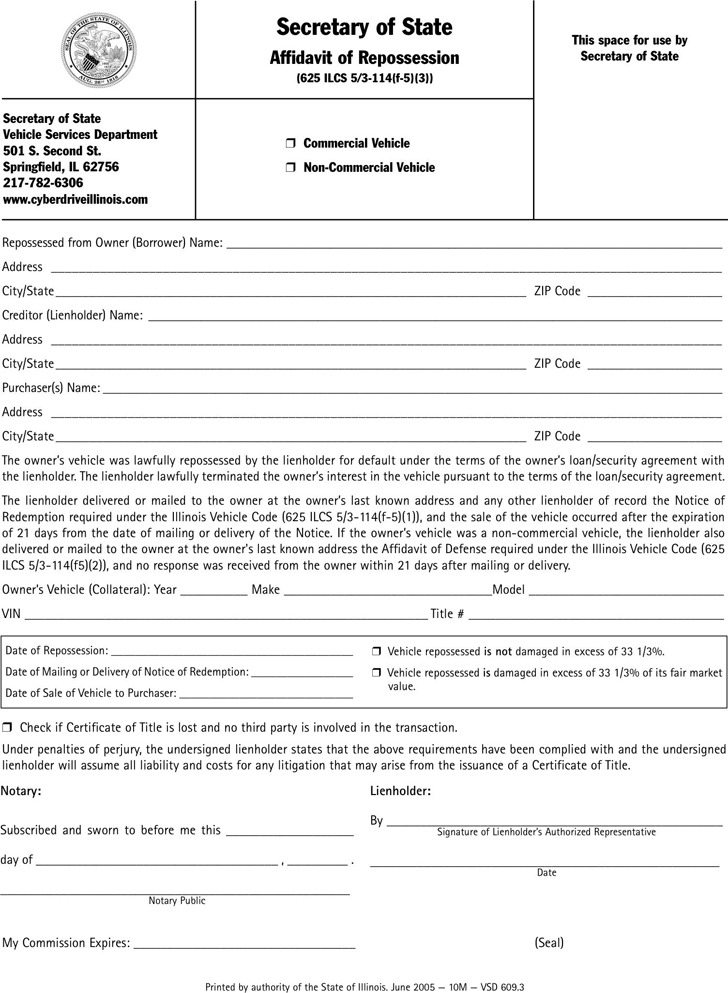 Illinois Affidavit of Repossession