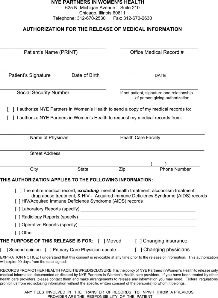 Illinois Authorization For The Release of Medical Information