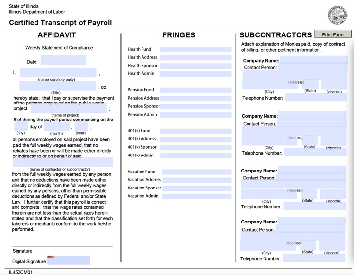 Illinois Certified Payroll Form 1