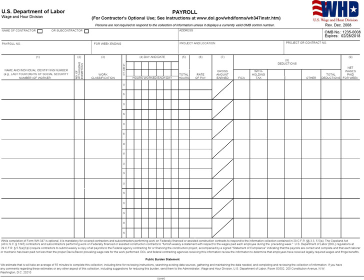 Illinois Certified Payroll Form 2