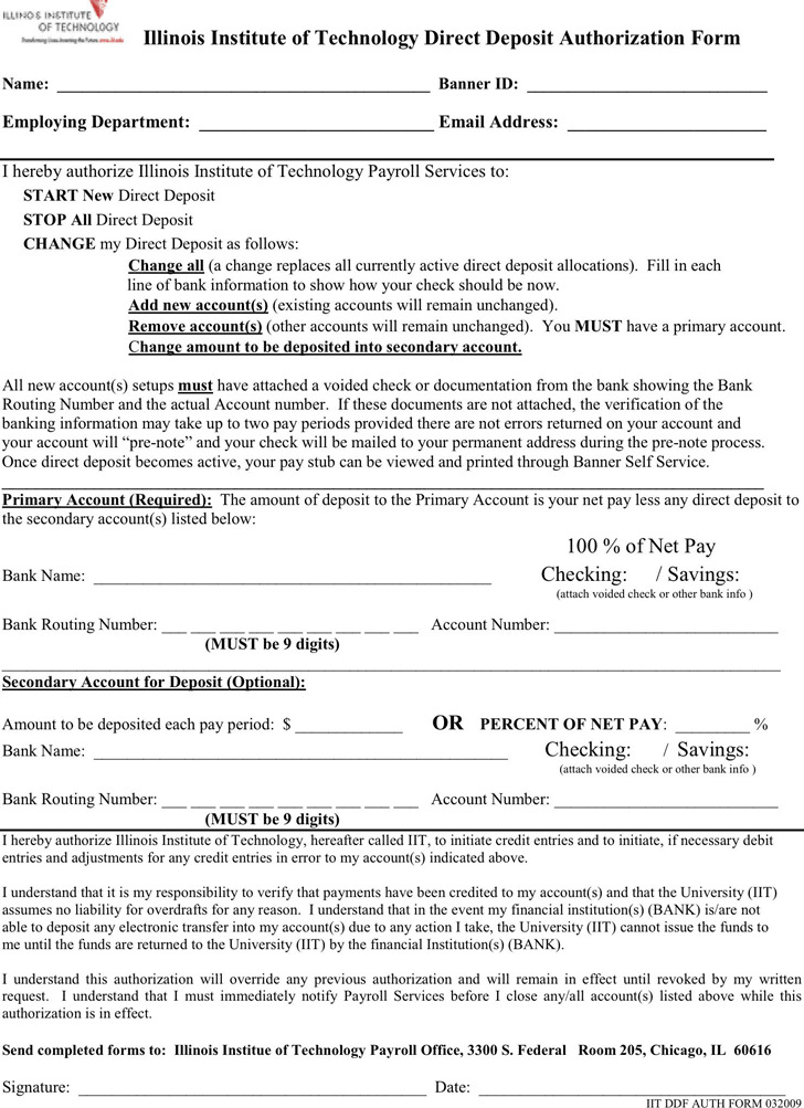 Illinois Direct Deposit Form 2