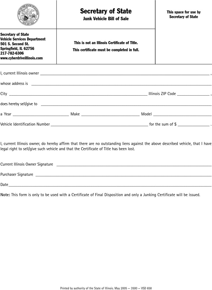 Free Illinois Motor Vehicle (Secretary Of State) Bill Of Sale Form