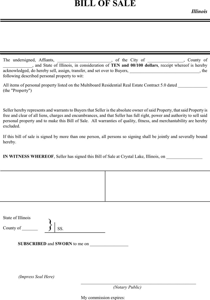 Illinois Bill Of Sale Form | Download Free & Premium Templates