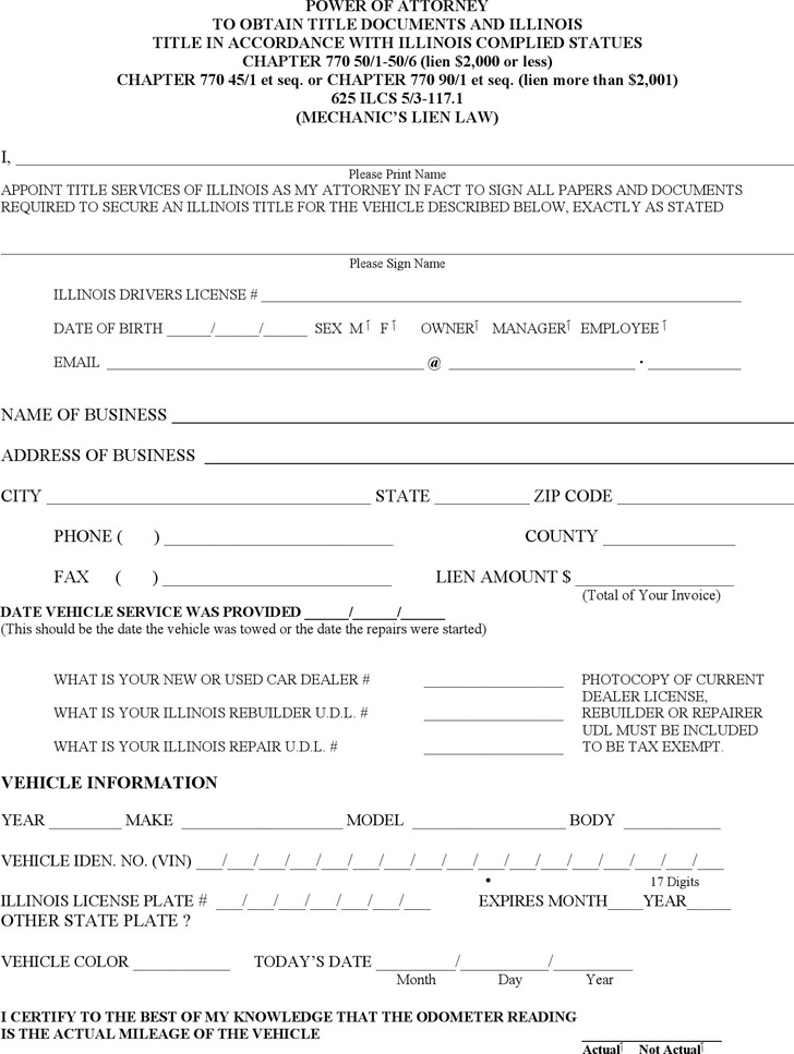 Illinois Power of Attorney to Obtain Title Documents Form