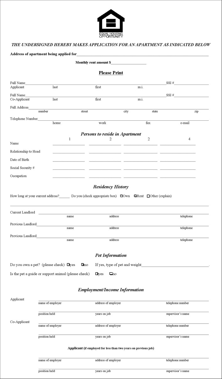 Illinois Rental Application Form
