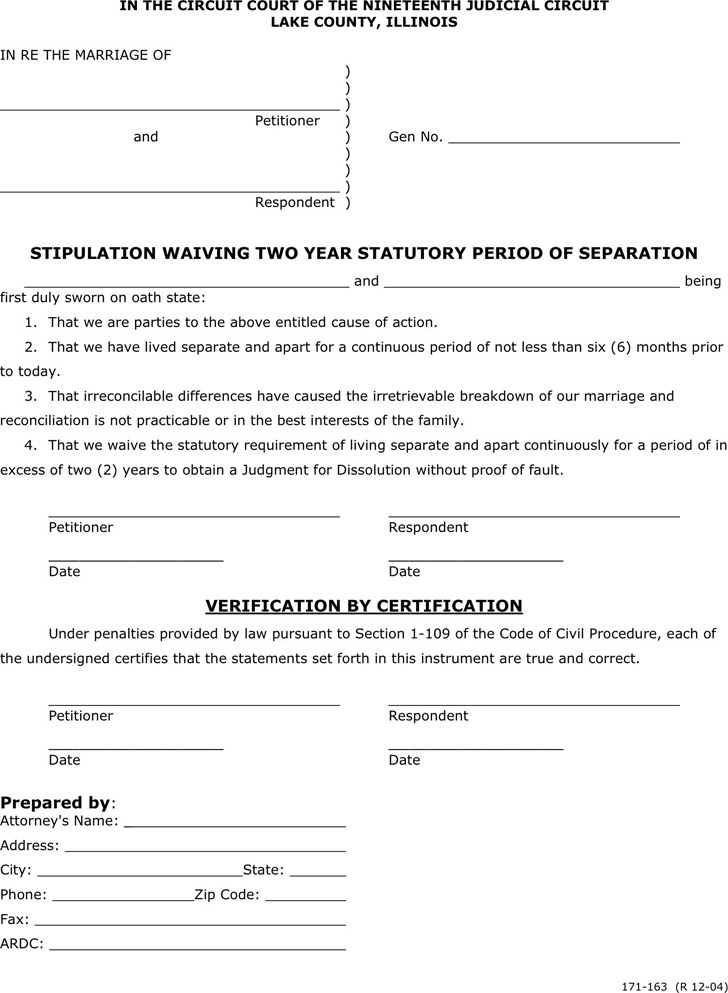 Illinois Separation Agreement Template