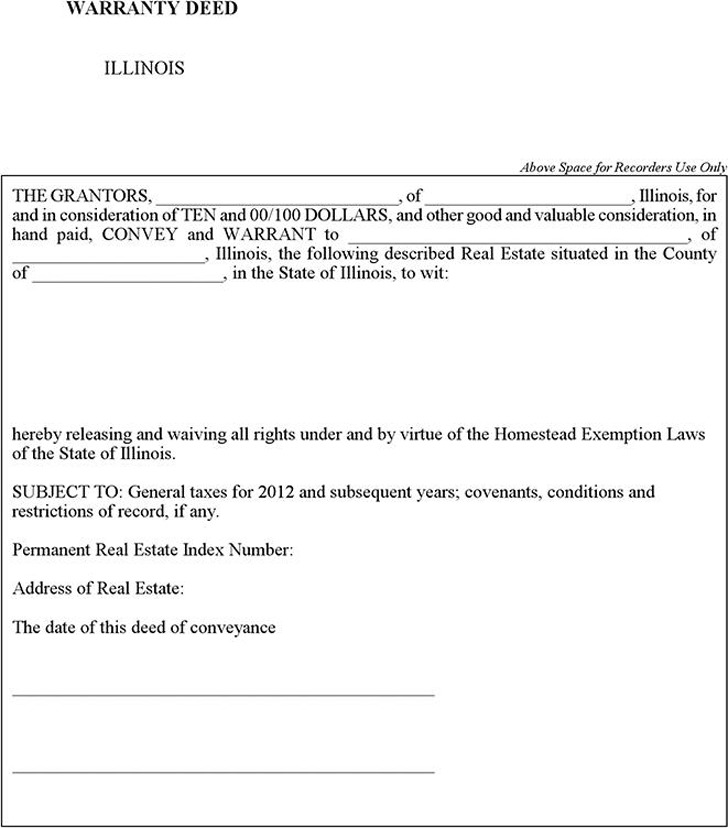 Illinois Warranty Deed Form | Download Free & Premium Templates