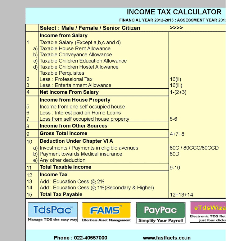 Income Tax Calculator | Download Free & Premium Templates, Forms