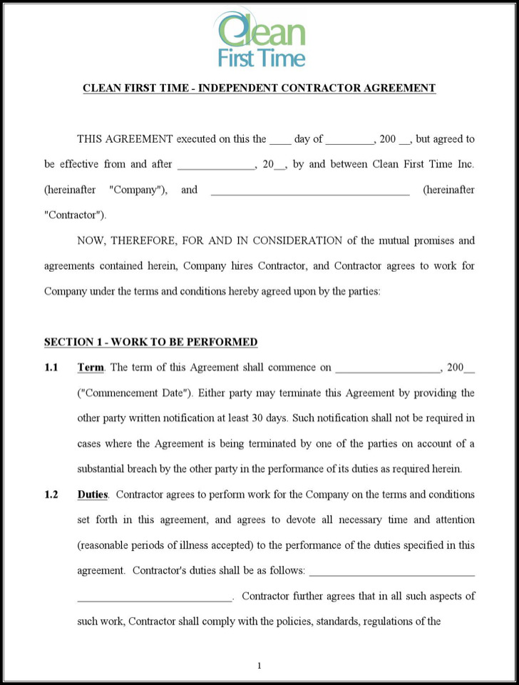 Cleaning Contract Agreement Agreement Template Doc Agreement – Cleaning Contract Template