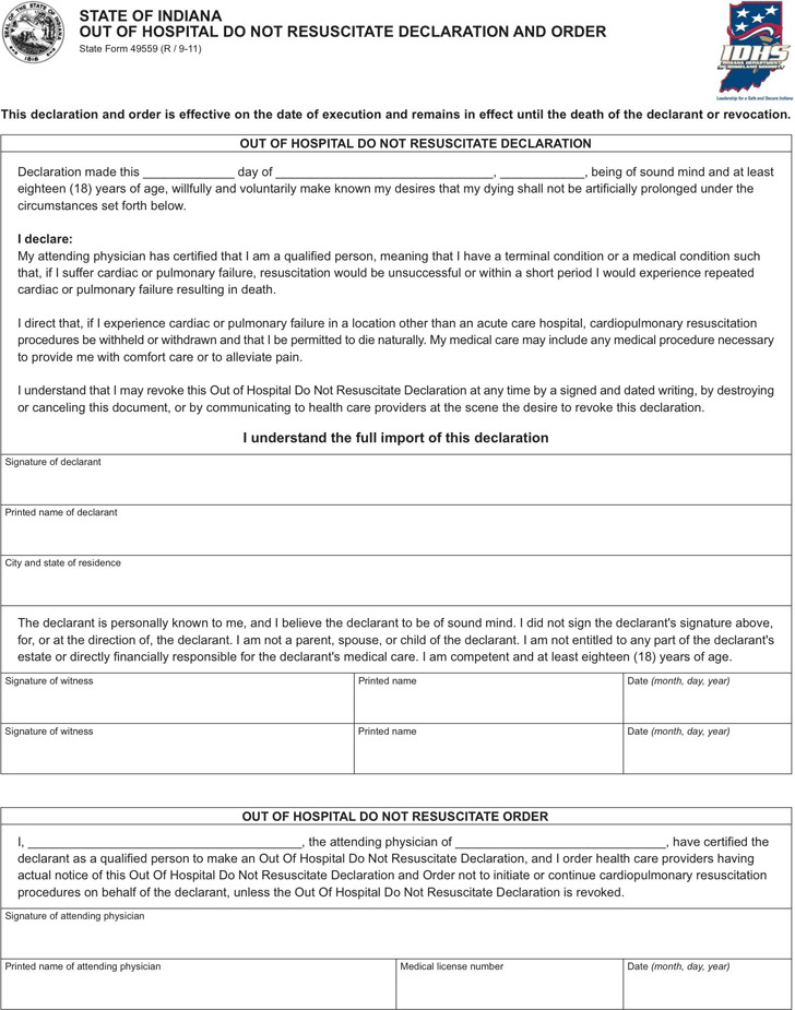 Indiana Do Not Resuscitate Form  Download Free  Premium Templates