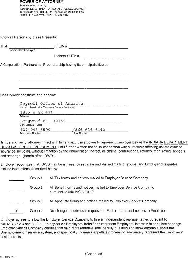 Indiana Employer's Powers of Attorney Form