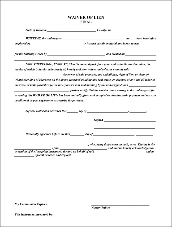 Indiana Lien Release Form | Download Free U0026 Premium Templates