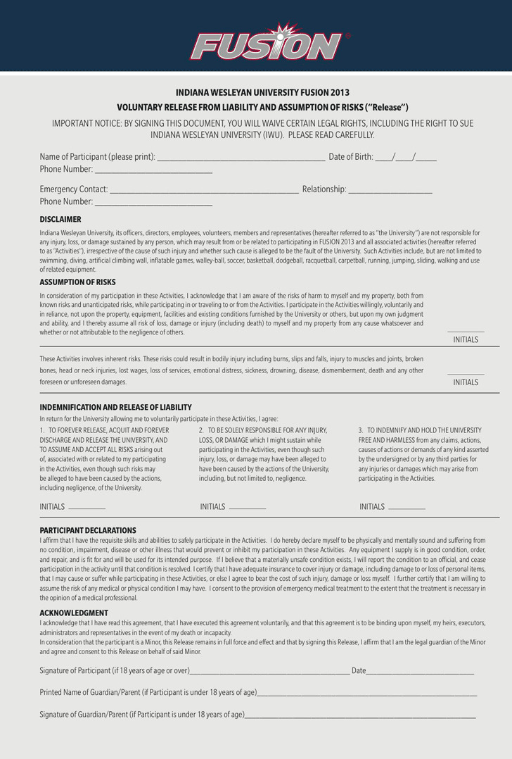 Indiana Liability Release Form 2