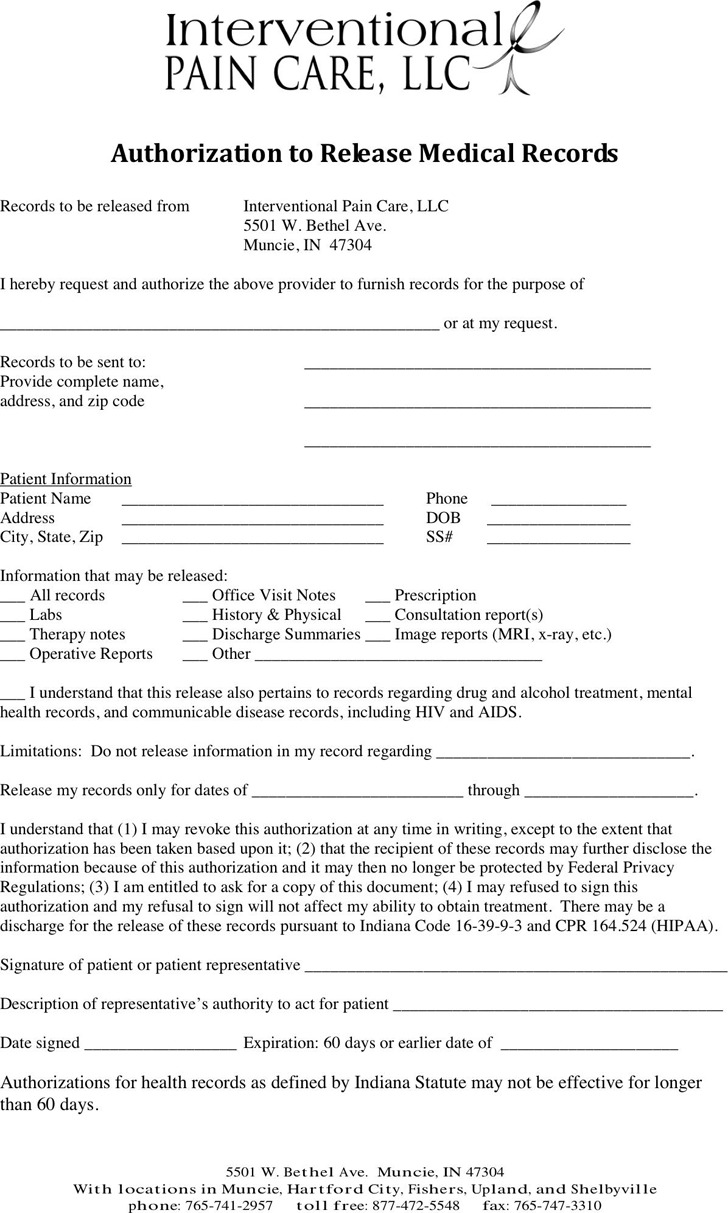 Indiana Medical Records Release Form 1