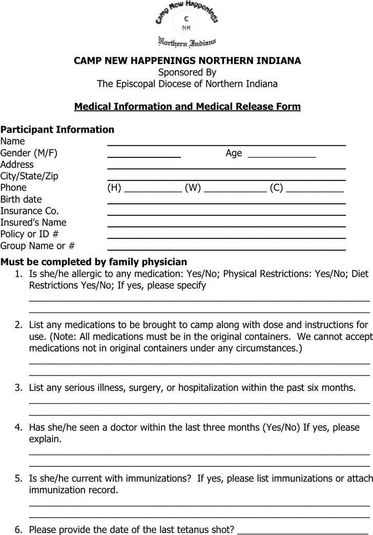 Indiana Medical Release Form 2