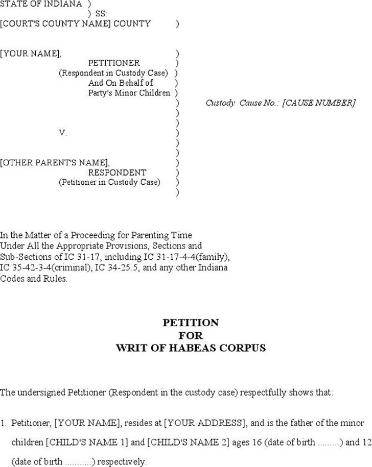 Indiana Petition for Writ of Habeas Corpus