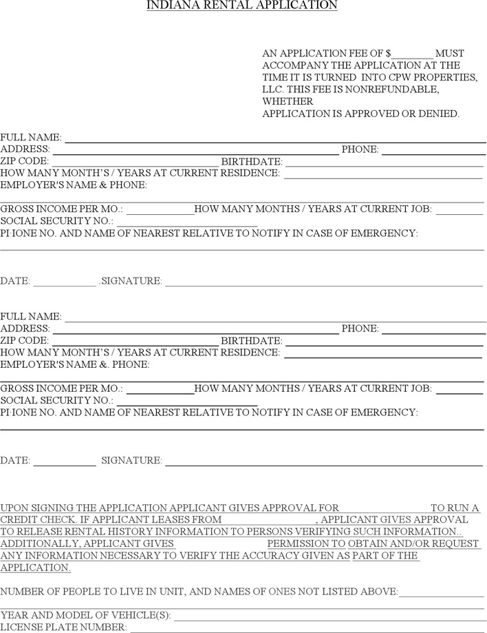 Indiana Rental Application Form