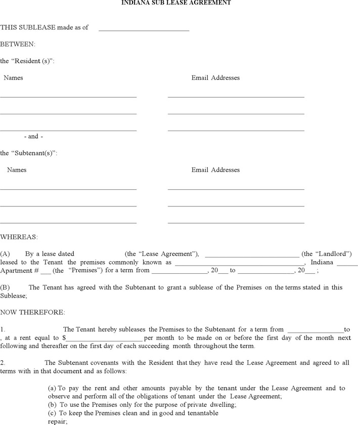 Indiana Sublease Agreement Form