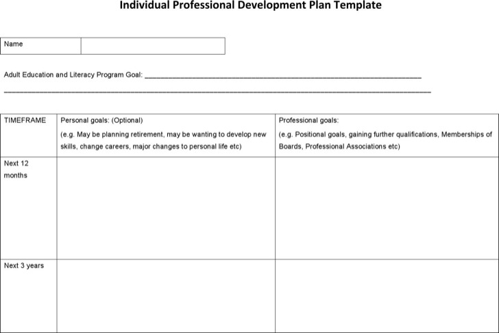 Sample Professional Development Plan Templates Download