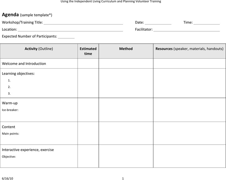 Training Agenda Template – Agenda Download Free