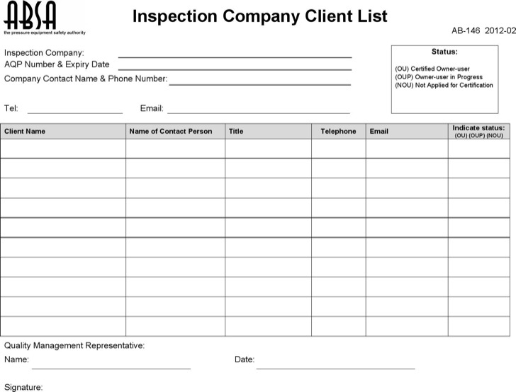 Company Contact List Template Packing List Template Best