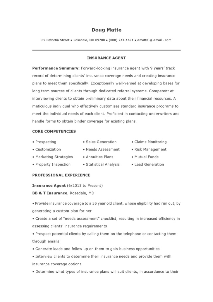 insurance resume template download free premium