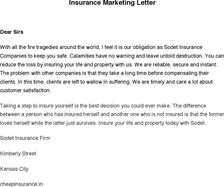 Insurance Marketing Letter