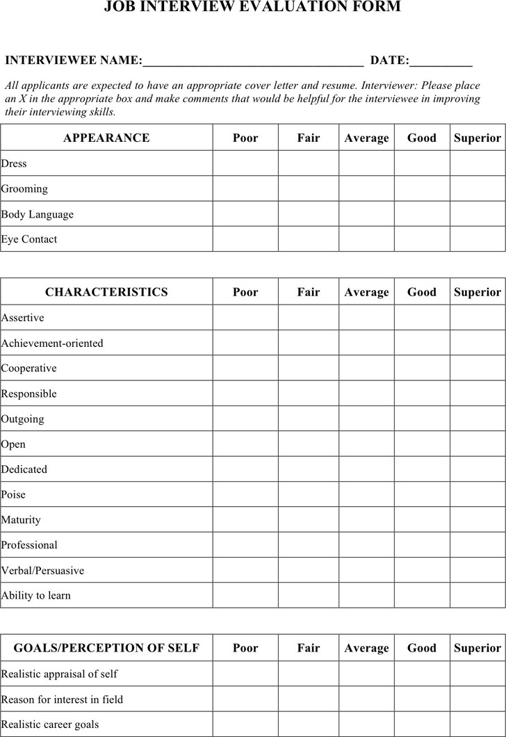Interview Evaluation Form | Download Free & Premium Templates ...
