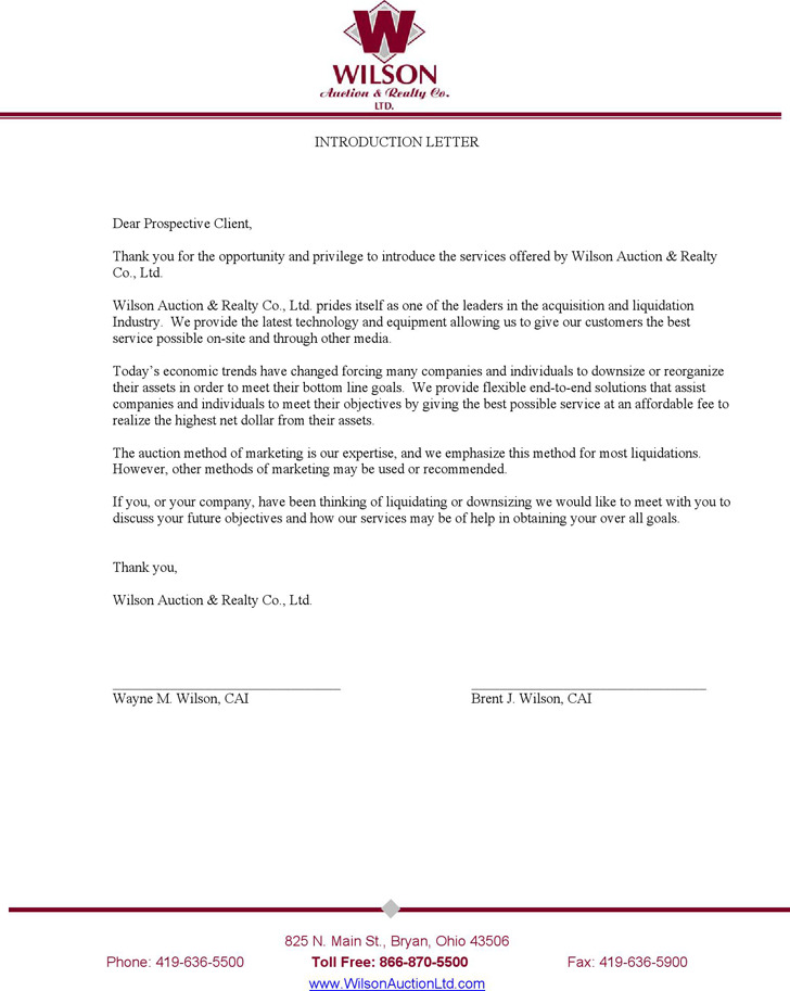 Introduction Letter to Clients