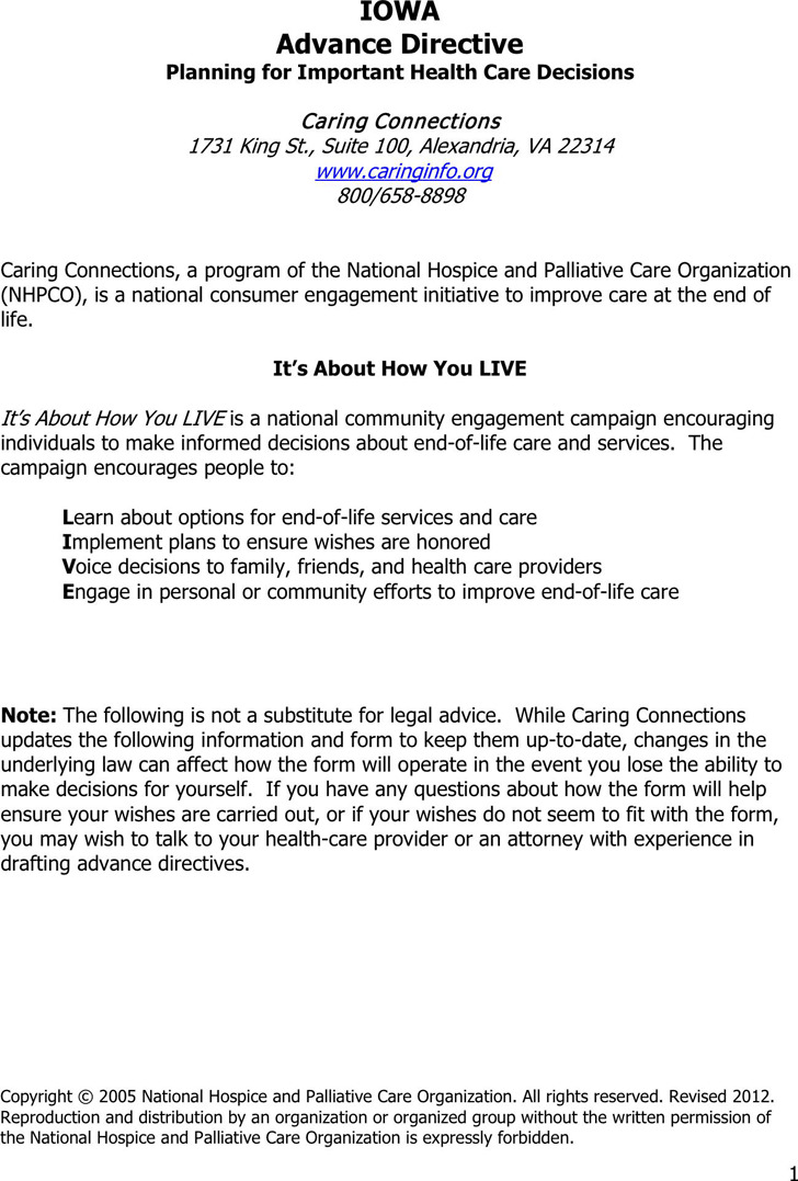 Iowa Advance Health Care Directive Form