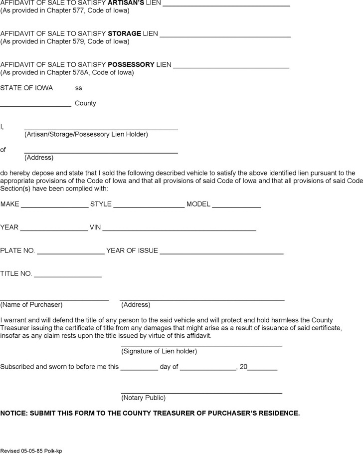 Iowa Affidavit for Artisan, Storage & Possessory Lein Form